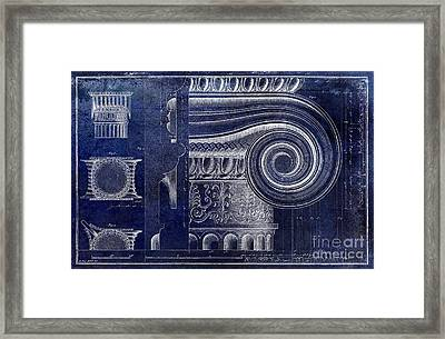 Architectural Capital Blue Framed Print by Jon Neidert