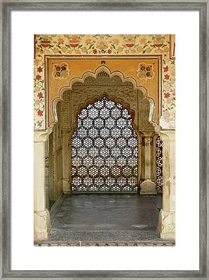 Architectural Details, Amber Fort Framed Print by Adam Jones