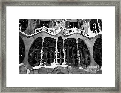 architectural details and windows of casa batllo modernisme style building in Barcelona Catalonia Sp Framed Print by Joe Fox