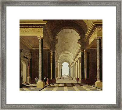 Architectural Fantasy With Figures, 1638 Framed Print by Gerrit Houckgeest