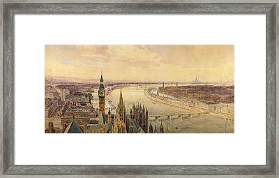 Architectural Panorama Of A Proposed Framed Print by Henry Newton