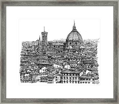 Architecture Of Florence Skyline In Ink  Framed Print by Adendorff Design