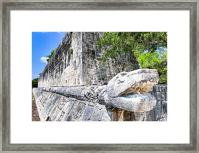 Architecture Of The Great Mayan Ball Court  Framed Print by Mark E Tisdale