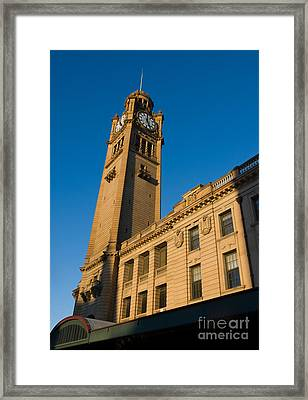 Architecture Of The Past - A Tall Station Clock Tower Framed Print
