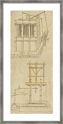 Architecture With Indoor Fountain From Atlantic Codex  Framed Print by Leonardo Da Vinci
