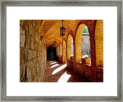 Archway By Courtyard In Castello Di Amorosa In Napa Valley-ca Framed Print