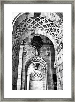 Archways At The Library Bw Framed Print by John Rizzuto