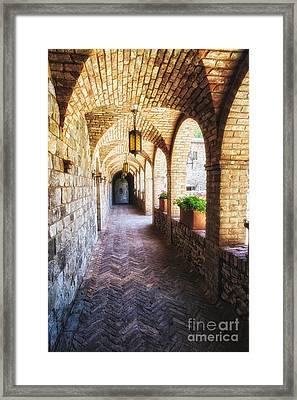 Archways Of A Tuscan Castle In Napa Valley Framed Print