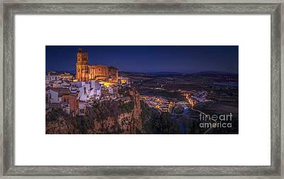 Arcos De La Frontera Panorama From Balcon De La Pena Cadiz Spain Framed Print
