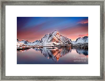 Arctic Dawn Over Reine Village Framed Print by Janet Burdon