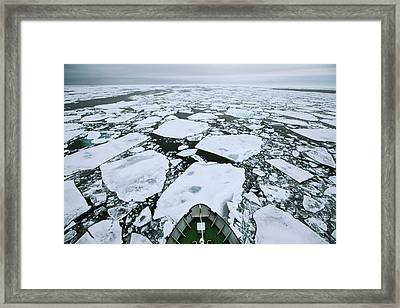 Arctic Pack Ice Viewed From Ships Mast Framed Print by Peter J. Raymond