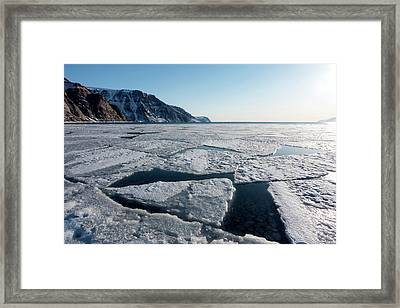 Arctic Sea Ice Breaking Up Framed Print by Louise Murray