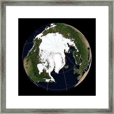 Arctic Sea Ice Maximum Framed Print by National Snow And Ice Data Center