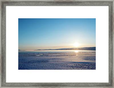 Arctic Sea Smoke Fog Framed Print by Louise Murray