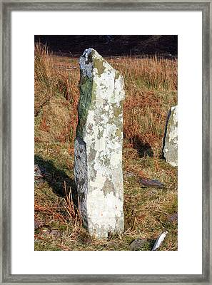 Cross Inscribed Stone Slab Framed Print