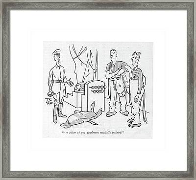 Are Either Of You Gentlemen Musically Inclined? Framed Print by George Price