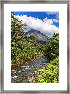 Arenal From The Rio Agua Caliente Framed Print