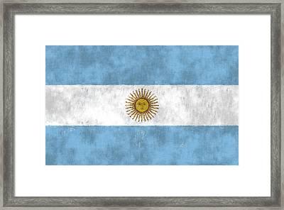 Argentina Flag Framed Print by World Art Prints And Designs