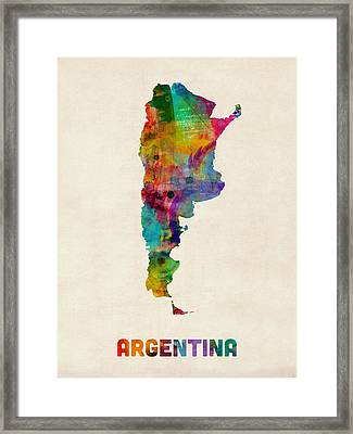 Argentina Watercolor Map Framed Print by Michael Tompsett