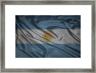 Argentinian Flag Waving On Canvas Framed Print