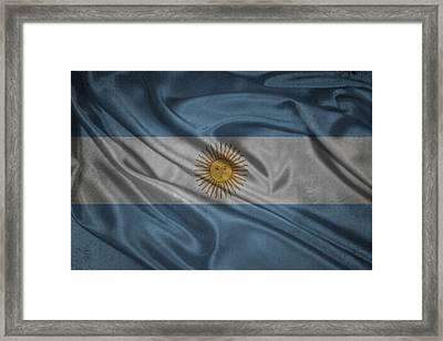 Argentinian Flag Waving On Canvas Framed Print by Eti Reid