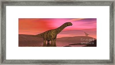 Argentinosaurus Dinosaurs Amongst Framed Print by Elena Duvernay
