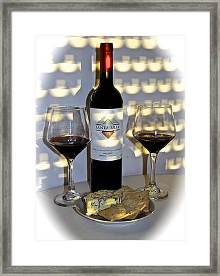 Argentine Previa Wine And Cheese Framed Print by Venetia Featherstone-Witty