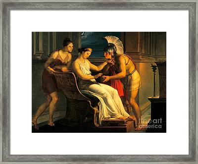 Ariadne Giving Some Thread To Theseus To Leave Labyrinth Framed Print