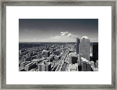 Arial View Of Calgary Facing West Framed Print by Lisa Knechtel