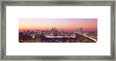 Arial View Of The City At Twilight Framed Print by Panoramic Images