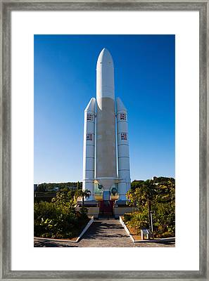 Ariane 5 French Space Rocket At Cite De Framed Print