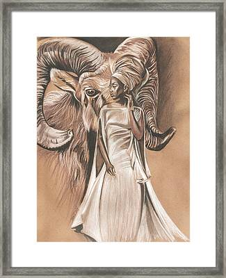 Aries Woman Framed Print by Terri Meredith