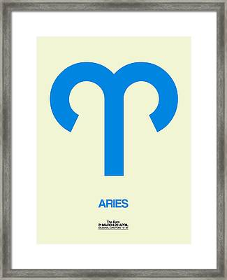 Aries Zodiac Sign Blue Framed Print by Naxart Studio