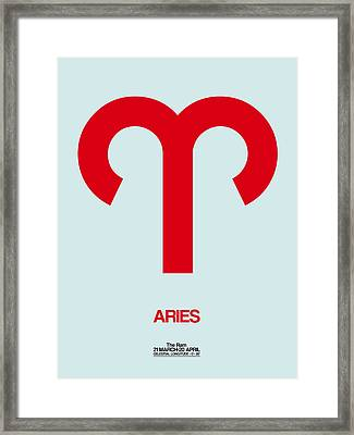 Aries Zodiac Sign Red Framed Print by Naxart Studio
