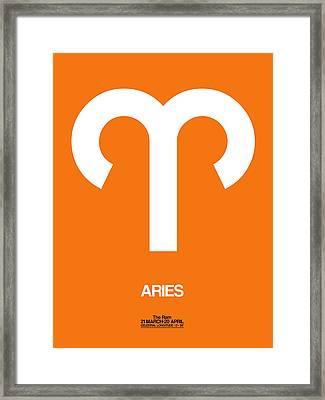 Aries Zodiac Sign White On Orange Framed Print by Naxart Studio