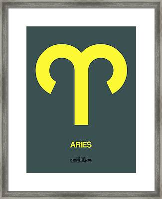 Aries Zodiac Sign Yellow Framed Print