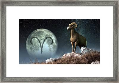 Aries Zodiac Symbol Framed Print by Daniel Eskridge