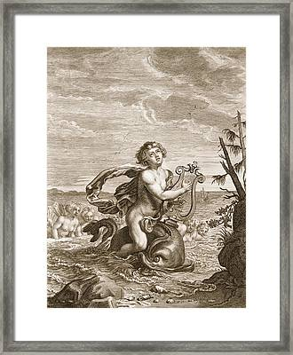 Arion Preserved By A Dolphin, 1731 Framed Print