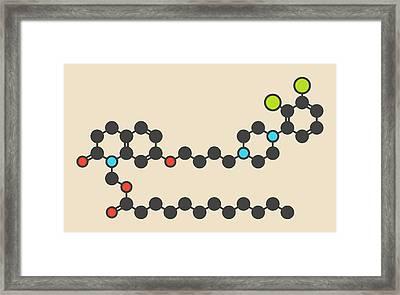 Aripiprazole Lauroxil Drug Molecule Framed Print by Molekuul