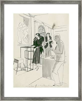 Aristocrats At The Boucher Exhibition Framed Print by Jean Pages