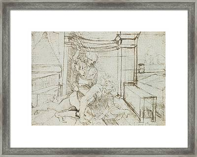 Aristotle And Phyllis Framed Print by Leonardo Da Vinci