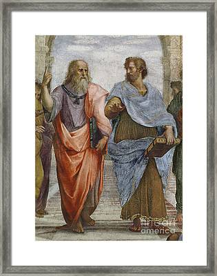 Aristotle And Plato Detail Of School Of Athens Framed Print by Raffaello Sanzio of Urbino