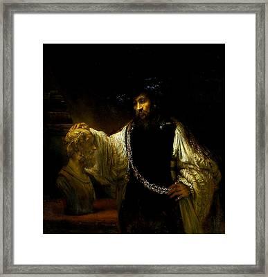 Aristotle Contemplating A Bust Of Homer Framed Print