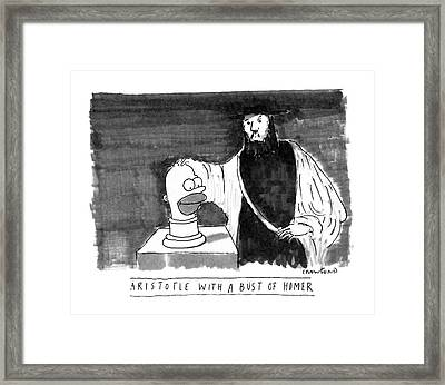 Aristotle With A Bust Of Homer: Framed Print by Michael Crawford