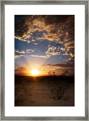 Framed Print featuring the photograph Arizona Desert Sunset by Brad Brizek