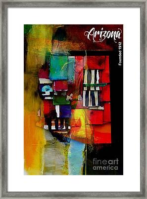 Arizona Map Collection Framed Print