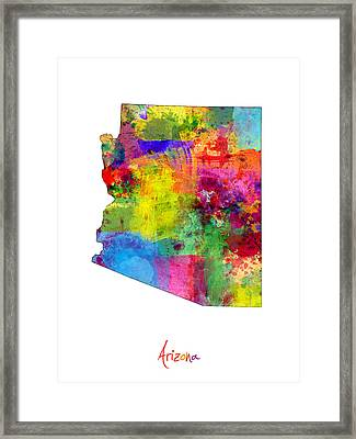Arizona Map Framed Print