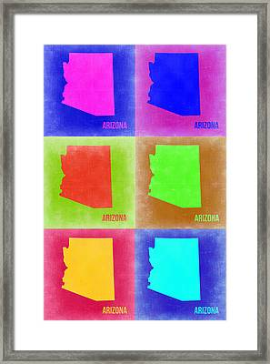 Arizona Pop Art Map 2 Framed Print by Naxart Studio