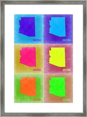 Arizona Pop Art Map 4 Framed Print by Naxart Studio