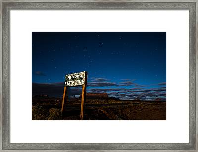 Arizona State Line In Monument Valley At Night Framed Print
